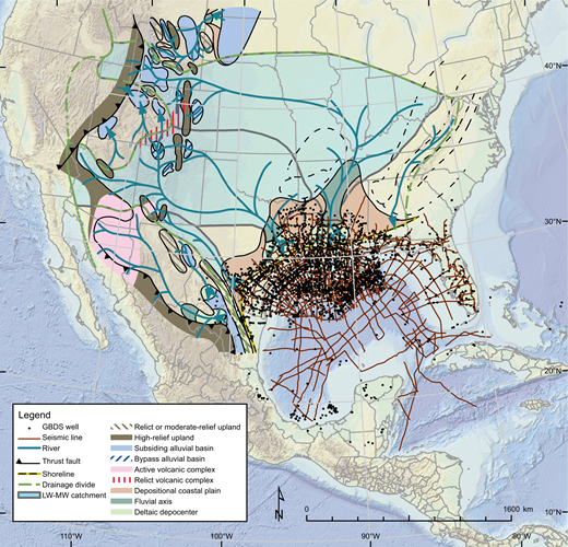 Locations of Gulf of Mexico wells and seismic lines used in this study, with examples of source terranes, rivers, catchments (shown as light green transparent polygons), and linked depositional systems for the Paleocene Middle Wilcox depositional episode. Background image is a present-day elevation and depth raster for the Gulf of Mexico region with an underlying shaded-relief layer to enhance visualization (derived from Smith and Sandwell, 1997). Abbreviations: GBDS—Gulf Basin Depositional Synthesis research project; MW—Mddle Wilcox depositional episode; LW—Lower Wilcox depositional episode.