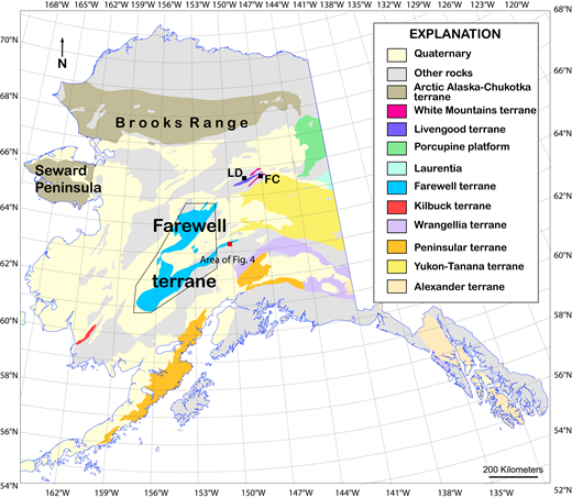 Map of Alaska showing selected terranes, adapted from Silberling et al. (1994). Detrital zircon sample localities: FC—Fossil Creek Volcanics; LD—Livengood Dome Chert. Red box is location of the ca. 433 Ma tuff in eastern Farewell terrane.