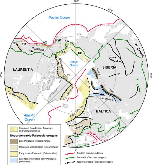 Cratons and orogens of the circum-Arctic region in polar azimuthal equidistant projection (simplified from Colpron and Nelson, 2011). Abbreviations: AA—Arctic Alaska; AX—Alexander terrane, CH—Chukotka; FW—Farewell terrane; NS—Northern Sierra terrane; PE—Pearya; SW—Seward Peninsula; YR—Yreka terrane. Arctic Alaska–Chukotka composite terrane encompasses Arctic Alaska, Seward Peninsula, and Chukotka.