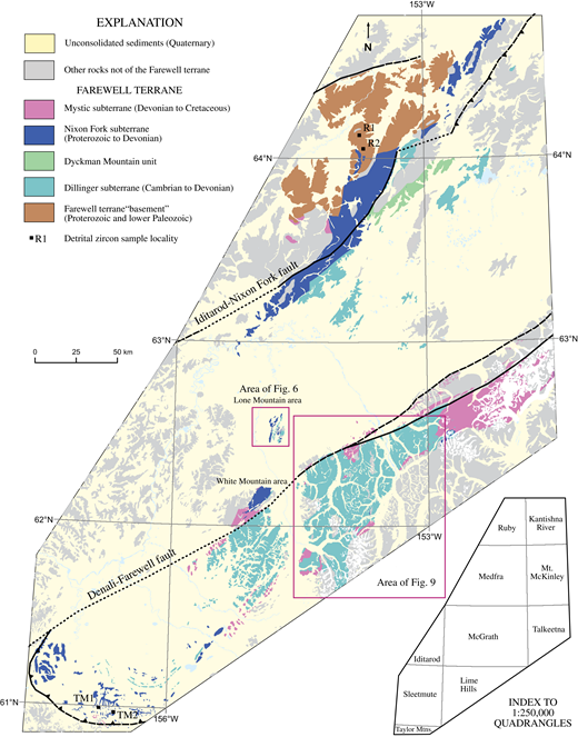 Generalized geologic map of the Farewell terrane, modified from Wilson et al. (1998), and the locations of some of the detrital zircon localities discussed in the text. Bottom-right inset: U.S. Geological Survey 1:250,000 map quadrangles.