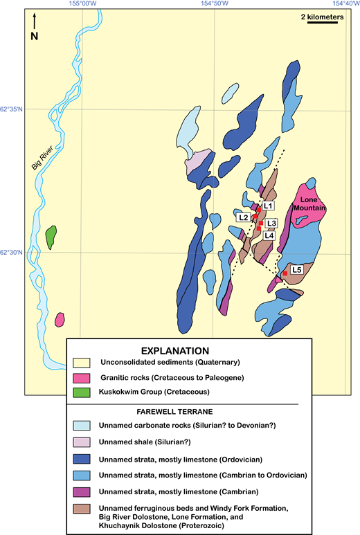 Generalized geology of the Lone Mountain area, modified from Bradley et al. (2014), showing detrital zircon sample locations L1–L5; see Table 1 for field sample numbers and sample descriptions.