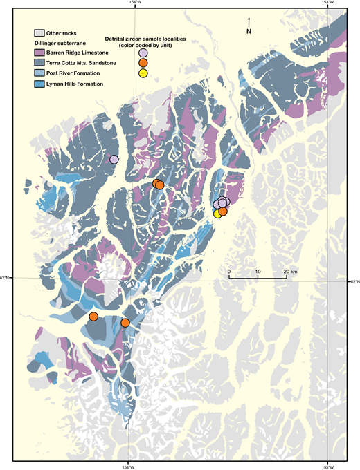 Geology of southern McGrath and northern Lime Hills quadrangles, showing locations of detrital zircon samples; locality symbols are color coded by geologic unit as shown. See Table 1 for field sample numbers and sample descriptions.