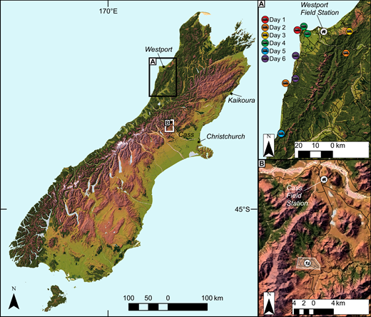 Map of field module locations and sites (A, Roadside; B, Situated), South Island, New Zealand. The roadside module contained nine geographically disperse sites visited over six days, whereas the situated module concentrated on one discrete mapping area over the same time frame.