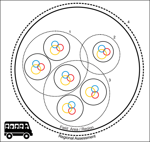Recommended design for roadside field trips. Student, instructor, and peers colored circle sizes differ to show the amount of input that each group had relative to one another. Note that these sizes and the positioning of each circle are schematic only and not based on quantitative measures. The recommended design for roadside field trips includes: (1) increased interlinking of smaller assessments (e.g., assessments 1–3) and (2) a regional (field-area wide) assessment (e.g., assessment 4), which serves to link all field sites and assessments. These recommendations serve to promote greater student place attachment and engagement with the entirety of the field area or region.