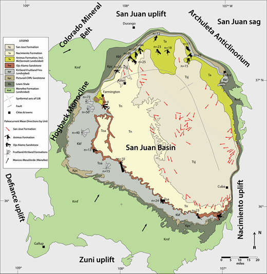 Paleocurrent map of Cretaceous through Eocene strata of the San Juan basin, northwestern New Mexico and southwestern Colorado. Paleocurrent trends are represented as azimuthal vectors with north to the top or shown in rose diagrams and overlain on simplified geologic map of the San Juan Basin (SJB). n = ## is the number of measurements included in each rose diagram. Statistics and values for the paleocurrent vector means for the San Jose Formation (red arrows) are in Smith (1988) and for the Menefee (black arrows) are in Cumella (1983). Paleoflow indicators are from the following sources: Kmf—Cumella (1983); Molenaar (1983); Dickinson and Gehrels (2008); Kpc—Hunt (1984); Hunt and Lucas (1992); Kkf—Dilworth (1960); Fassett and Hinds (1971); Cather (2004); Toa—Powell (1972); Lehman (1985); Klute (1986); Cather (2004); and Sikkink (1987); Ta—Sikkink (1987); Tsj—Smith (1988, 1992); Klute (1986). Base geologic map modified from New Mexico Bureau of Geology and Mineral Resources (2003), Geologic map of New Mexico 1:500,000.