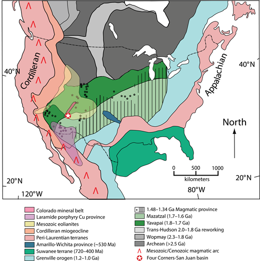 North American crustal province map. Age domains are color coded to match the age-probability diagrams in Figures 4 and 6–9. Adapted from Laskowski et al. (2013) and Gehrels et al. (2011), which were originally based on Hoffman (1988). Distribution of Mesozoic eolianites from Leier and Gehrels (2011).