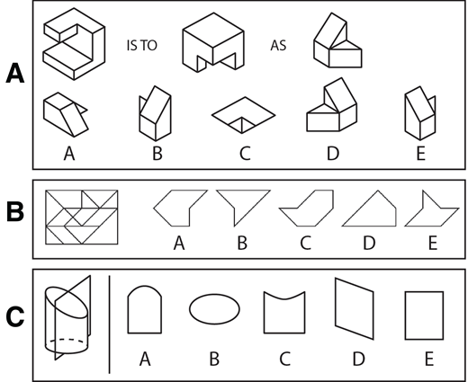 Examples of items from the spatial skills tests used in this study. (A) Mental rotation test item. (B) Disembedding test item. (Item in format of the Educational Testing Services [ETS] test, but actual is copyrighted. Example was drafted by the third author.) (C) Penetrative thinking test item.
