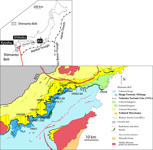 Geologic map of the northern part of the Shimanto Belt on Kyushu, including Foliated Morotsuka (FM) and Hyuga Tectonic Mélange (HTM) studied here. Samples in regular and italic font belong to HTM and FM, respectively. Redrawn from Murata (1997) and Saito et al. (1997).