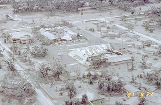 Ash-fall damage to rooms at Clark Air Base, ∼25 km east of Pinatubo (Philippines). The photograph is in true color (courtesy of W.E. Scott, U.S. Geological Survey).