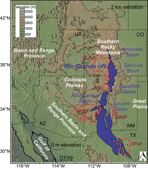 Topographic map with tectonic setting of the Rio Grande rift (blue) in the western United States, and Paleogene volcanic fields (red dashed lines). JVF—Jemez volcanic field, MDVF—Mogollon-Datil volcanic field, SBVF—Sierra Blanca volcanic field, SJVF—San Juan volcanic field, TPVF—Trans-Pecos volcanic field. State abbreviations: UT—Utah, CO—Colorado, AZ—Arizona, NM—New Mexico, TX—Texas.