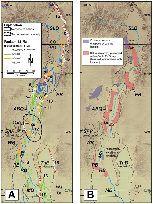 Map of major Neogene basins of the Rio Grande rift showing (A) middle-late Quaternary faults and (B) mappable areas of the Miocene-Pliocene unconformity. Delineation of the Socorro seismic anomaly is shown in A. Faults active since 1.6 Ma are categorized according to most recent surface-rupture event. ABQ—Albuquerque Basin, EB—Española Basin, ENB—Engle Basin, LB—La Jencia Basin, MB—Mesilla Basin, PB—Palomas Basin, RB—Rincon Basin, SAP—San Agustin Plains, SB—Socorro Basin, SLB—San Luis Basin, TuB—Tularosa Basin, WB—Winston Basin. State abbreviations: CO—Colorado, NM—New Mexico, TX—Texas. Numerals are keyed to specific faults in Table 1. Highlighted faults have been trenched.