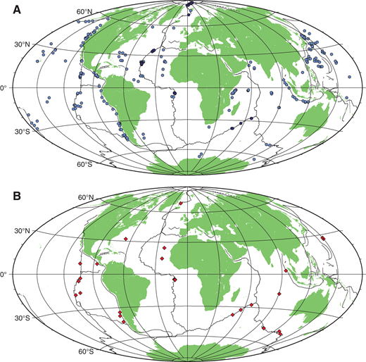 (A) Global map of seismic data providing oceanic crustal thickness (data sources: light blue dots, data compiled by van Avendonk et al. (2017); dark blue dots, data summarized in Table S1 [footnote 1]). Crustal thickness estimates are shown in Figure 2. (B) Global map of seismic data providing both crustal thickness and detailed errors on seismic velocity using modern state-of-the-art inversion techniques (data source: Table S2 [footnote 1]). Crustal thickness versus lower-crustal velocity is shown in Figure 3. Thin black lines indicate plate boundaries.