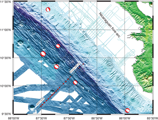 Bathymetric map of bend faulting offshore of Nicaragua. Note the trench-parallel stairway-like fault structures in the trench–outer rise. Focal mechanisms of normal-faulting earthquakes are solutions from the Global Centroid Moment Tensor Project (http://www.globalcmt.org). Seismic profile and ocean-bottom seismometers used by Ivandic et al. (2008) are shown by the black line and red squares. The line reported by Ivandic et al. (2008) was a composite line, combining shots and ocean-bottom seismometers from the two profiles SO173p50 and Ewing-NIC20. Figure is modified from Ivandic et al. (2008). Blue colors indicate depth below sea level and green colors above sea level.