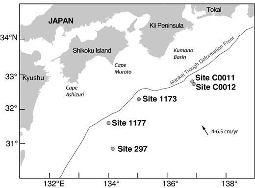 Map of the Nankai Trough area, offshore Japan, showing drilling locations of Deep Sea Drilling Project Site 297, Ocean Drilling Program Sites 1173 and 1177, and Integrated Ocean Drilling Program Sites C0011 and C0012 (modified from Kimura et al., 2008).