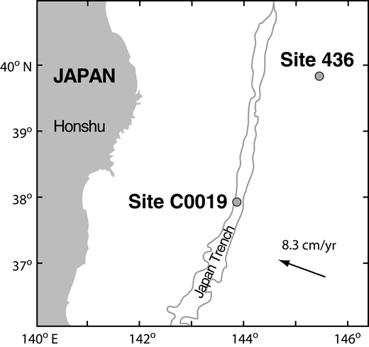 Map of the Japan Trench area showing drilling locations of Deep Sea Drilling Project Site 436 and Integrated Ocean Drilling Program Site C0019 (modified from Arthur and Adelseck, 1980; Kimura et al., 2008).