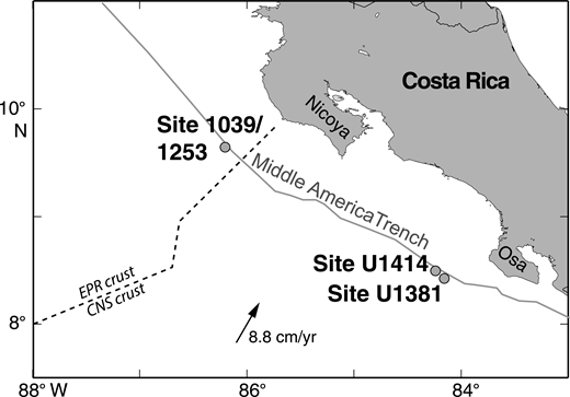 Map of the Middle America Trench area, offshore Costa Rica, showing drilling locations of Ocean Drilling Program Sites 1039 and 1253 Integrated Ocean Drilling Program Sites U1381 and U1414 (modified from Morris et al., 2003). EPR—East Pacific Rise; CNS—Cocos-Nazca spreading center.