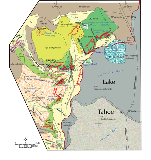 Simplified geologic map of northwestern part of the Lake Tahoe Basin. Units shown on map are: MPa (brown)—Miocene–Pliocene andesite flows and breccias; QPs (gray)—Pliocene–Pleistocene lacustrine sediments, locally diatomite rich; Qb1 (apple green)—older (2.3 Ma) basaltic lavas; Qb2 (light green)—younger (2.1 Ma) basaltic lavas. For Qb units, pillow breccias are marked with red dots. Qbut (bluish stipple)—basaltic tuff; age undetermined. Qbtf (yellow green)—0.94 Ma trachyandesite lavas. Auto-brecciated portions marked with red triangles. Qg (light orange)—glacial deposits; mostly pre-Tahoe age. Qta—glacial deposits; Tahoe age. Qu (pale yellow)—undifferentiated cover deposits, including till, colluvium, alluvium, and landslide. Ql (light gray)—McKinney Bay landslide deposits. Contacts are thin black lines. Faults are shown with black lines, and shorelines (with age) are shown with thick red lines. U/D indicates upthrown and downthrown sides of faults. Location of samples with new 40Ar/39Ar ages shown by circled X.