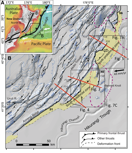 (A) Regional tectonic setting of the Hikurangi subduction zone, North Island, New Zealand. White arrows are relative Pacific-Australian plate motion vectors (Beavan et al., 2002). TVZ—Taupo Volcanic Zone; RP—Raukumara Peninsula. (B) Structure and morphology of the central Hikurangi margin accretionary wedge. Yellow shaded areas include the currently active protothrust zone largely southeast of the primary frontal thrust (modified from Barnes et al., 2010). The north protothrust zone (PTZ) and the south PTZ are separated by the Bennett Knoll seamount (bold dashed purple lines represent the base of seamounts on the subducting Pacific plate; modified from Barnes et al., 2010). Bold black arrow is the Pacific-Australian plate motion vector. Bold numbers along the deformation front are margin-perpendicular convergence rates (mm/yr) from Wallace et al. (2004). Thrust faults labeled F11—F18 were discussed in Ghisetti et al. (2016). Blue contours are water depths (m). Bold red lines are seismic sections illustrated in Figures 3–5.