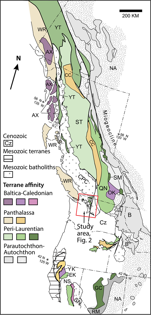 Terrane map of the northern Cordillera (after Colpron and Nelson, 2009; Brown et al., 2010). Colors indicate parautochthon, western Laurentian affinity, and Baltic-Caledonian affinity terranes. Ocean-floor rocks, accretionary wedge, and arc terranes derived from Panthalassa are shown. Abbreviations of units mentioned in text: AX—Alexander; B—Belt; CC—Cache Creek; CPC—Coast Plutonic Complex; Cz—Cenozoic cover; EK—Eastern Klamath; GC—Golconda; NA—North America; NS—Northern Sierra; OK—Okanagan; QN—Quesnellia; RM—Roberts Mountains; SM—Slide Mountain; SN—Sierra Nevada batholith; ST—Stikine; WR—Wrangellia; YK—Yreka; YT—Yukon Tanana. AK—Alaska; B.C.—British Columbia.