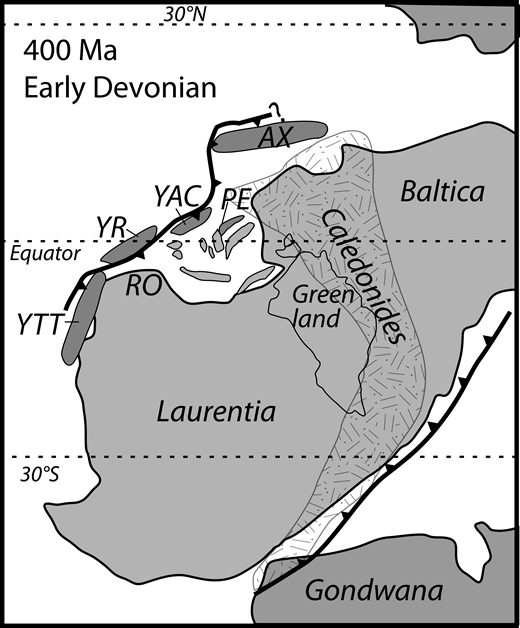 Early Devonian reconstruction showing possible locations for the Yellow Aster Complex (YAC) and related terranes. Inferred locations of Yukon-Tanana (YTT) and Alexander (AX) terranes are after Pecha et al. (2016). Continents, subduction zones, and Pearya (PE) terrane after Cocks and Torsvik (2011). Yreka (YR) and Romanzof orogen (RO) after Colpron and Nelson (2011).