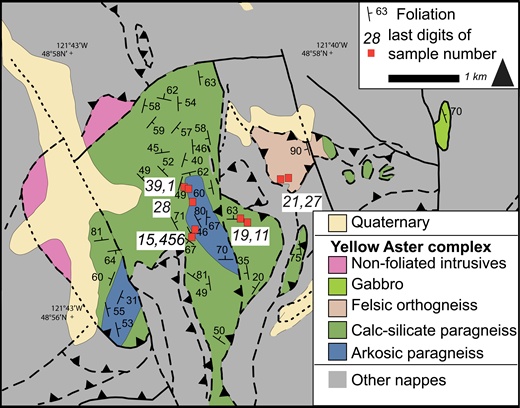 Geologic map of Yellow Aster Meadows area, from this study and modified from Sevigny (1983) and Tabor et al. (2003). Geochronology samples are shown in red boxes.