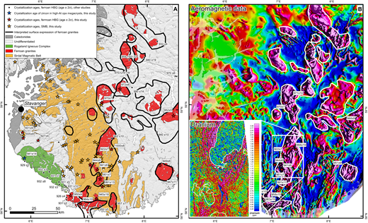 (A) Simplified geological map of southwest Norway, highlighting the Sveconorwegian magmatic rocks. Also shown are the sample locations of Sirdal Magmatic Belt (SMB), ferroan hornblende-biotite granite (HBG), and high-Al orthopyroxene (opx) megacryst samples investigated here, along with previously published age data from these rocks, taken from an updated version of the database presented by Bingen and Solli (2009). The ages of particular SMB samples are not shown. The black polygons outline the anomalies. (B) Aeromagnetic data from the same region. The positive magnetic anomalies generally correspond to ferroan hornblende-biotite granites, and appear to suggest that these bodies are much larger than indicated on the geological map. The white polygons outline the anomalies. Inset shows uranium concentrations from a recent airborne radiometric survey (Ofstad, 2015).