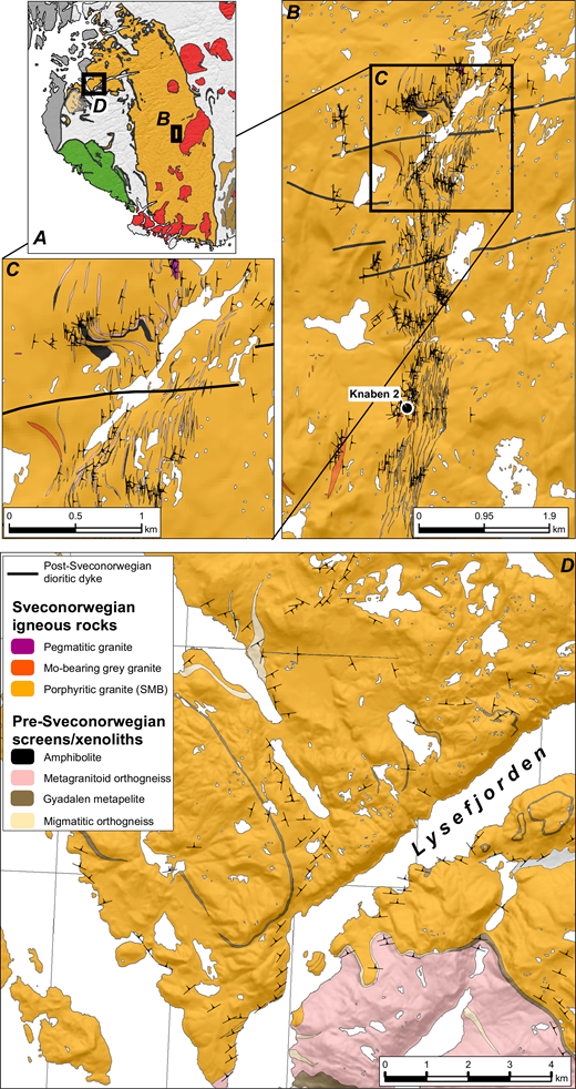 Detailed geological maps with structural data of the Knaben area (Stormoen, 2015) and the Lysefjorden area (Marker and Slagstad, 2018c; Marker et al., 2012). SMB—Sirdal Magmatic Belt.