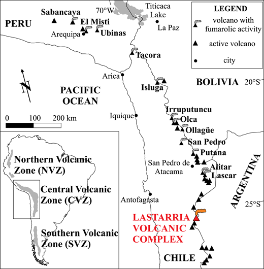 Regional map showing the location of the Lastarria volcanic complex, northern Chile. Modified from Aguilera et al. (2012).