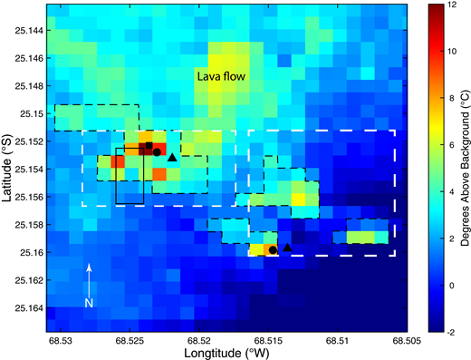 Advanced Spaceborne Thermal Emission and Reflection Radiometer (ASTER) thermal image of Lastarria volcano acquired 19 August 2014. Gas sample measurement locations are shown as squares (multi-component gas analyzer system [MultiGAS] measurements), circles (fumarole samples), triangles (alkaline trap measurements), and a black rectangle (diffuse degassing survey area). Black dashed lines outline the high-temperature regions representing the four main fumarole fields used to extrapolate areas of diffuse degassing. White dashed lines note the regions shown in Figures 2B and 2C. Note that the upper-central portion of the figure shows a thermally elevated area not related to volcanogenic heating. This area is the location of the Lastarria lava flow 4 (<2.4 ka; Naranjo, 1992, 2010) and is labeled in the figure. This area contains the youngest volcanic structures on the complex, including a low-albedo black-colored lava, that have the highest emissivity values. These characteristics enable more thermal energy to be absorbed in these regions during the day and therefore produce a thermally elevated signature in nighttime data.