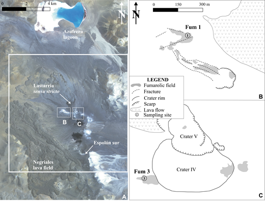 Advanced Spaceborne Thermal Emission and Reflection Radiometer (ASTER) image of the Lastarria volcanic complex (A), with the locations of the lower (B) and upper (C) fumarole fields (Fum 1 and Fum 3) marked by small white boxes; sketches of these regions shown on the right in B and C. The large white box shows the vertical and left-lateral extent of the region shown in Figure 3.