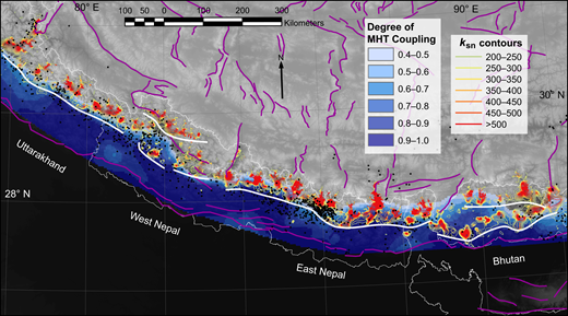 Contour map of Himalayan normalized river channel steepness (ksn), a proxy for rock uplift of 105 yr, overlaid on the degree of Main Himalayan thrust (MHT) coupling (blue shading; darker blue = more coupling from GPS velocities [Stevens and Avouac, 2015]), active Himalayan-Tibetan faults (purple lines) after Styron et al. (2011) and Taylor and Yin (2009), and Mw 2–9 epicenters from A.D. 1966 to 2016 (black dots) from the U.S. Geological Survey National Earthquake Information Center (https://earthquake.usgs.gov/earthquakes/search/). Where rock uplift outpaces river incision the river channel steepens, ksn analysis uses a digital elevation model to calculate longitudinal river steepness normalized to a reference river channel concavity (0.45). For a more complete description see the methods section. Heavy white lines denote continuous clusters of high-ksn river channels referred to in text. Thin white lines are political boundaries.