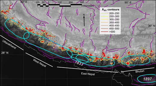 Contour map of clusters of high normalized river channel steepness (ksn) overlaid with inferred earthquake ruptures of the past 500 yr, labeled with year of occurrence, after Berthet et al. (2014, and references therein) and Mugnier et al. (2013, and references therein). Heavy white lines denote strain accumulation segments referred to in text. Thin white lines are political boundaries and purple lines are active faults from Taylor and Yin (2009).