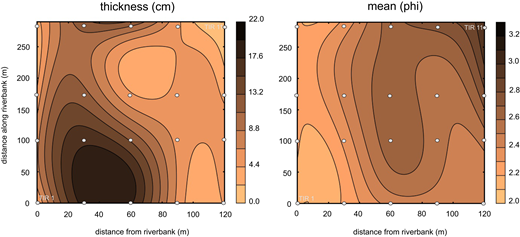 Contour plots of thickness and mean values of sand layer 1 on the river floodplain. The plots were generated along the core grid. The space between the different drill holes is interpolated. Each of the four riverbank profiles of the core grid is positioned on the y axis, which represents the riverbank.