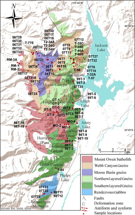 Geologic map of the Archean rocks of the Teton Range, modified after Love et al. (1992), showing locations of samples included in this study.
