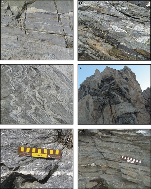 Photographs of the various types of Layered Gneiss in the southern Teton Range. (A) Southern Layered Gneiss, upper Garnet Canyon. (B) Southern Layered Gneiss, Avalanche Canyon. (C) Bright-Eyed gneiss, Death Canyon. (D) Biotite paragneiss, Moran Bay. (E) Biotite paragneiss, Upper Exum route near summit of the Grand Teton. (F) Strongly foliated biotite paragneiss at Paintbrush Divide within the Moran deformation zone. Field of view for A and B is about 1 meter. The horizontal pegmatite dike in Fig. 3E is about 0.7 m thick.