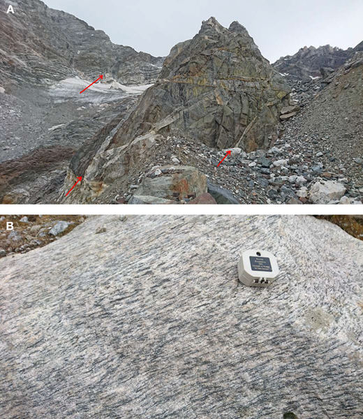 Field photographs of the Moran deformation zone. (A) Photograph of the north face of the Thor Peak–Mount Moran massif near the westernmost portion of Triple Glacier. Foliated gneisses within the Moran deformation zone are crosscut by several generations of undeformed dikes of Mount Owen granite. Red arrows indicate locations of structural measurements. Triangular peak in the middle of the photograph is about 100 m high. (B) Strongly foliated gneiss from a high-strain zone of the Moran deformation zone located to right of field of view shown in A.