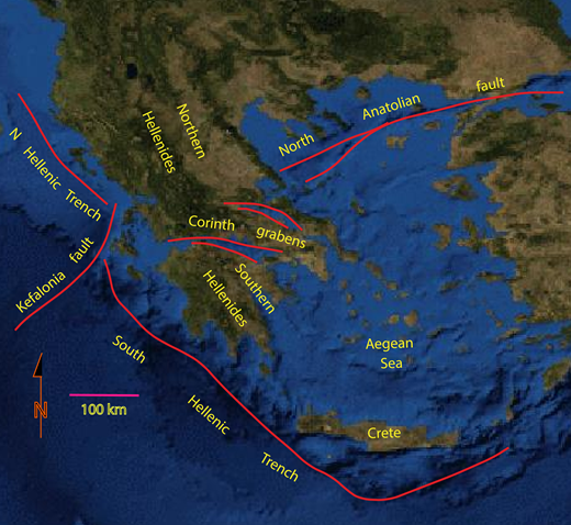 Topography within Aegean region showing the topographic expression of the major tectonic elements discussed in the text. Division of northern and southern Hellenides as discussed in the text are highlighted.