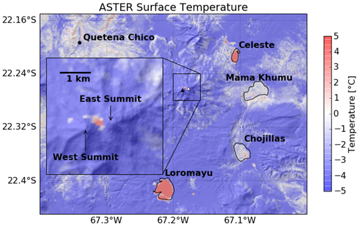 Night-time temperatures at Uturuncu measured on 9 November 2009 by the advanced spaceborne thermal emission and reflection radiometer (ASTER) instrument on the Terra satellite, processed at the Land Processes Distributed Active Archive Center (LPDAAC) to product 8 (surface kinetic temperature) draped over 30 m Shuttle Radar Topography Mission (SRTM) shaded relief with lakes outlined and labeled. Each pixel is 90 m2, and the hotspot shows up as a region of ∼50 pixels (∼4500 m2) within the saddle between the two Uturuncu summits, with temperatures elevated ∼15 K above the cold, blue background temperatures at higher elevation. Fumarole temperatures on the ground have been recorded (see references in Jay et al., 2013). Night-time ASTER images have imprecise georectification, and this image was shifted to align the image with the lake outlines by –0.0075° of longitude and –0.0025° in latitude.