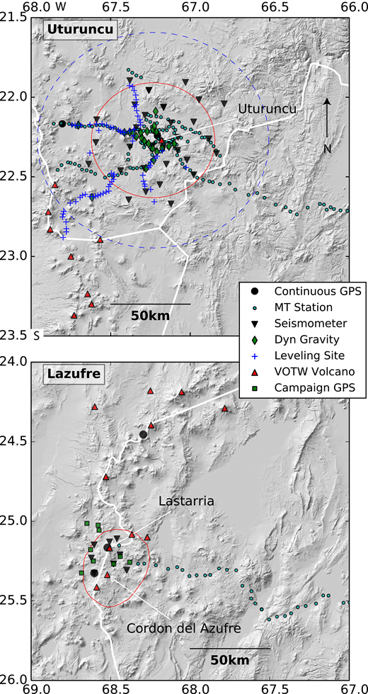 PLUTONS geophysical instruments deployed at Uturuncu (top) and Lazufre (bottom). Approximate outlines of uplifting regions are shown by the red contour (between 1992 and 2011 for Uturuncu from Henderson and Pritchard, 2013; 2006–2008 for Lazufre from Remy et al., 2014) and subsiding region at Uturuncu is inside the dotted blue line. Holocene volcanoes from the Smithsonian Volcanoes of the World catalog are shown as red triangles. See text for description and references for each geophysical technique.