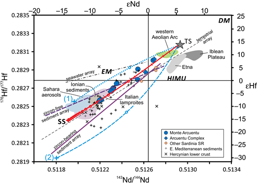 "Plot of 176Hf/177Hf versus 143Nd/144Nd showing results of representative mixing calculations between average Tyrrhenian Sea mantle (TS) and Sahara sediment (SS). Shown for reference are the Terrestrial Array of Vervoort et al. (2011), and the ""zircon-free sediment,"" and ""zircon-bearing sediment"" arrays from Bayon et al. (2009). The field for Sahara aerosols (Pourmand et al., 2014) overlaps the ""zircon-free sediment"" array. Results of three mixing calculations are shown: TS-mantle contaminated by (1) zircon-poor sediment or aerosols, i.e., Sahara dust (blue dotted line); (2) zircon-bearing sediment (blue dashed line); and a 2:1 mix of (1) and (2) labeled SS for model Saharan Sediment. Hf isotope composition of TS is inferred from Tyrrhenian Sea basalts (Gasperini et al., 2002): 176Hf/177Hf = 0.28317, Hf = 0.31 ppm; TS Nd isotope composition as in Figure 11. Zircon-poor sediment composition for western Sahara inferred from Bayon et al. (2009) data for fine-grained sediments from the Congo basin: 143Nd/144Nd = 0.511962, 176Hf/177Hf = 0.282557, Nd = 22.44 ppm, Hf = 3.71ppm. Zircon-bearing sediment composition based on coarse-grained shelf sediments from the Congo basin (Bayon et al., 2009): 143Nd/144Nd = 0.511791, 176Hf/177Hf = 0.281939, Nd = 18.97 ppm, Hf = 8.30 ppm. Model west Sahara sediment, i.e., 2:1 mix of (1) and (2): 143Nd/144Nd = 0.511906, 176Hf/177Hf = 0.282353, Nd = 21.29 ppm, Hf = 5.23 ppm. Other data sources as listed in Table A1. Only the first 5% mixing interval is indicated for the zircon-poor and zircon-bearing sediment mixing curves. Mantle end-members are the same as in Figure 6."