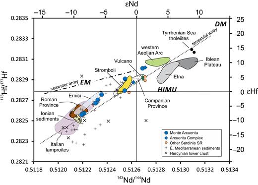 εHf versus εNd showing rocks for Monte Arcuentu relative to other volcanic rocks of the western Mediterranean. Data sources for this and subsequent isotope diagrams are listed in Table A1. Enriched mantle (EM), depleted mantle (DM), and high µ (HIMU) components from Stracke (2012). Terrestrial Array from Vervoort et al. (2011). Seawater Array from Albarède et al. (1998).