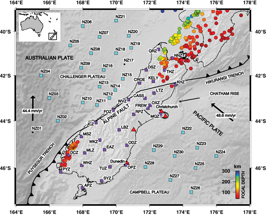 Location of seismographs used in this study. The light-blue squares are ocean bottom seismometers associated with the Marine Observations of Anisotropy Near Aotearoa (MOANA) array, and the purple squares are the New Zealand National Seismograph Network maintained by GeoNet. Stations CASS, CROE, KELY, and FREW were temporary stations deployed by Victoria University of Wellington. Bathymetric features including the Campbell Plateau, Challenger Plateau, Chatham Rise, the Hikurangi Trench, and the Puysegur Trench, along with the cities of Christchurch and Dunedin, and the Alpine fault, are labeled for reference. Seismicity since 2009 of mb >4 and focal depth greater than 40 km highlights the seismic zones associated with each subducting slab. Red triangles mark locations of Miocene or younger volcanism. The thin black arrow shows current relative plate motion between the Pacific and Australian plates, and the two thick black arrows show absolute plate motion of each plate in a hotspot reference frame (Gripp and Gordon, 2002).