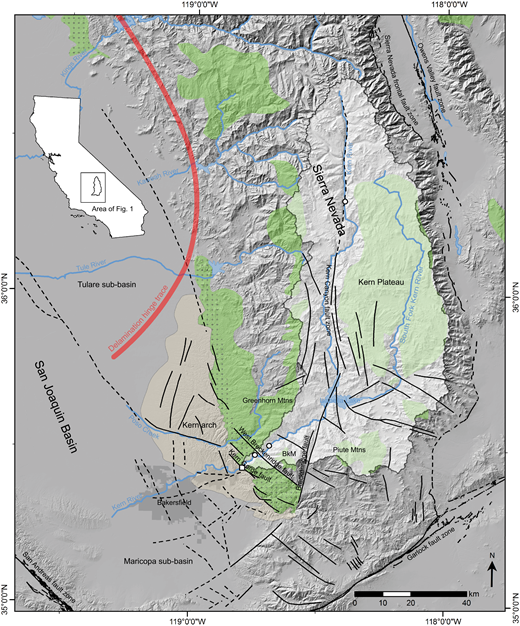 Map of the southern Sierra Nevada and San Joaquin Basin, California, showing major late Cenozoic faults as well as important structural and geomorphic features. The location of the Kern River watershed is outlined on the inset map of California and overlaid in white on the 30 m shaded relief of the regional map. The mouth of the Kern River (white square) is located at the transition between the southern Sierra Nevada and the San Joaquin Basin. Prominent knickpoints along the Kern River are shown as white circles. The location of Breckenridge Mountain (BkM), the Greenhorn Mountains, and the Piute Mountains are shown. The Kern arch region (tan), low-relief upland surface (green), and exhumed early Tertiary nonconformity surface (green patterned) are after Saleeby et al. (2016). Major fault systems that bound the southern Sierra Nevada are modified from the U.S. Geological Survey Quaternary faults database (U.S. Geological Survey and California Geological Survey, 2006). Faults of the southern Sierra Nevada fault system are after Mahéo et al. (2009) and Saleeby et al. (2016). The solid black lines represent faults with certain locations while dashed black lines represent faults with estimated or inferred locations. The thick red line denotes the present position of the delamination hinge trace that has been migrating northward since <1 Ma (after Saleeby et al., 2012, 2013).