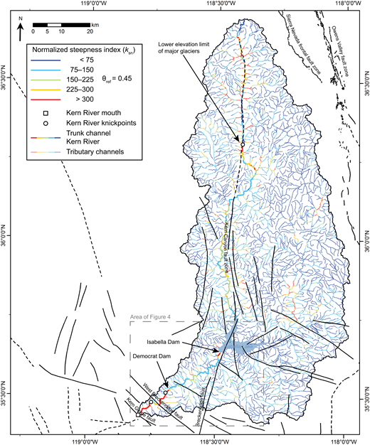 Map showing the results of automatic normalized steepness index (ksn) analysis of the entire Kern River watershed as well as major late Cenozoic faults. The minimum critical area chosen for this analysis was 1 × 106 m2. The reference concavity (θref) for all analyses was 0.45. Low values of ksn are represented by cool colors (blues), while high ksn values are represented by warm color (reds). The trunk channel of the Kern River is represented by a slightly thicker line weight to highlight ksn values along it. Prominent knickpoints on the trunk channel are marked with white dots (see text for discussion). The major late Cenozoic faults are described in Figure 1. The position of the Isabella Dam and Democrat Dam are marked for reference. The lower elevation limit of major glaciers is interpreted from Moore and Mack (2008) and Moore and Moring (2013).