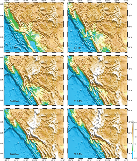 Time-slice maps for the surface elevation (in m) of the western United States, achieved from compensation of crustal thickness. State boundaries are moved for each time step as in Figure 7.