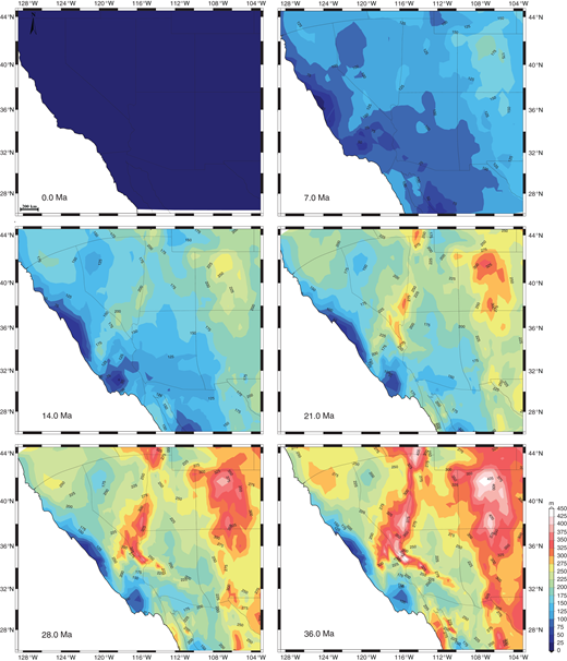Time-slice maps of surface elevation formal standard errors (in m) for the Basin and Range of the western United States. State boundaries are moved for each time step as in Figure 7.