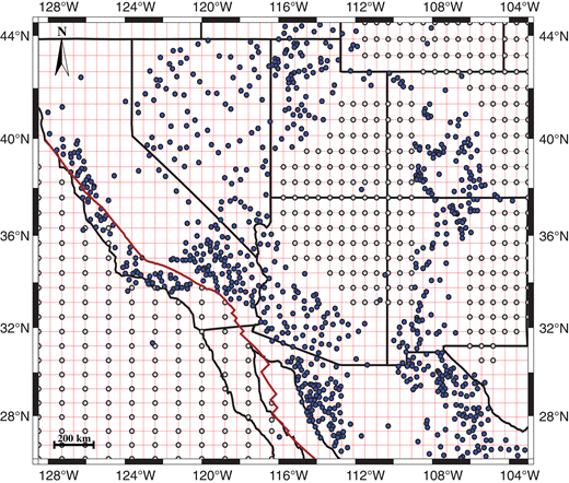 Western U.S. grid showing the position of fault displacement and velocity observation sites from McQuarrie and Wernicke (2005) (blue dots), and the location of points added in this study as constraints in the Colorado Plateau, eastern Rio Grande Rift, and Pacific Plate (gray dots). The red line represents the San Andreas fault system. The grid includes 2475 knotpoints and 1714 degrees of freedom associated with velocities.