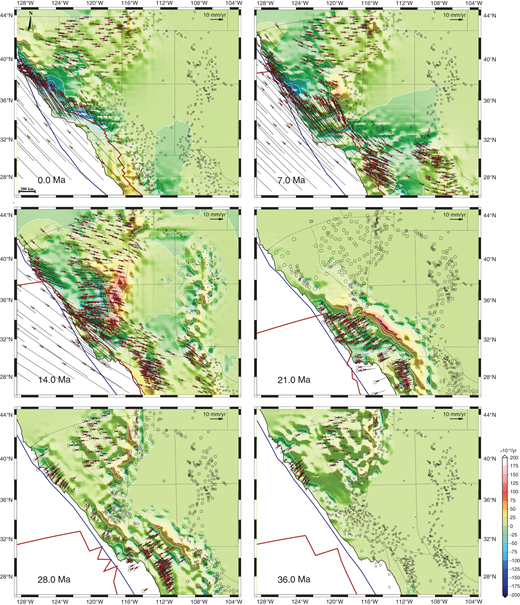 Time-slice maps of western U.S. velocity field estimates relative to the North American frame. Contoured dilatation strain rates are obtained from inversion of position change estimates of McQuarrie and Wernicke (2005) using the inversion algorithm of Beavan and Haines (2001). Red vectors are model velocities (95% confidence error ellipse) at the coordinate sites where position change estimates have been obtained from the kinematic model of McQuarrie and Wernicke (2005). Green vectors are model velocities for the Pacific plate relative to the stable North American frame. The blue line represents the location of the continental margin through time, and the red line represents the location of the East Pacific Rise and, in later times, the location of the San Andreas fault system. Contour interval (white) is 25 × 10–9/yr.