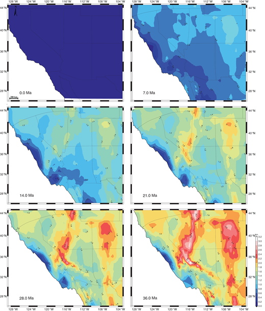 Time-slice maps of standard error estimates (in km) of crustal thickness for the Basin and Range of the western United States. State boundaries are moved for each time step as in Figure 7.