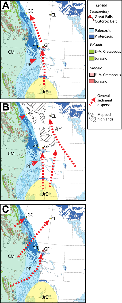 Maps showing generalized sediment dispersal into the Western Interior basin, modified after Jackson (1984), Leckie and Smith (1992), Dickinson and Gehrels (2009b), and Garrity and Soller (2009). CL—Cold Lake; CM—area dominated by Cordilleran magmatic rocks (green shading); GC—Grande Cache; GF—Great Falls; GR—Gibson Reservoir; JrE: approximate extent of Jurassic eolianites (yellow shading); PF—area dominated by pre-foreland sedimentary strata (blue shading). E.-M.—Early-Middle. (A) Late Jurassic sediment dispersal (i.e., Morrison Formation, Monteith Member). (B) Aptian sediment dispersal (i.e., Cut Bank Member, basal conglomerate of the Kootenai Formation, Cadomin Formation, McMurray Formation). (C) Albian sediment dispersal (i.e., Upper Kootenai Member of Great Falls and Grande Cache, Notikewin Member, Grand Rapids Formation).